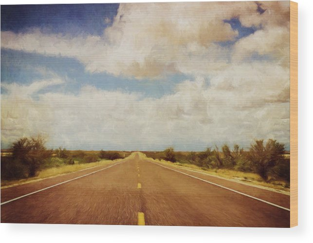 Scott Norris Photography Wood Print featuring the photograph Texas Highway by Scott Norris