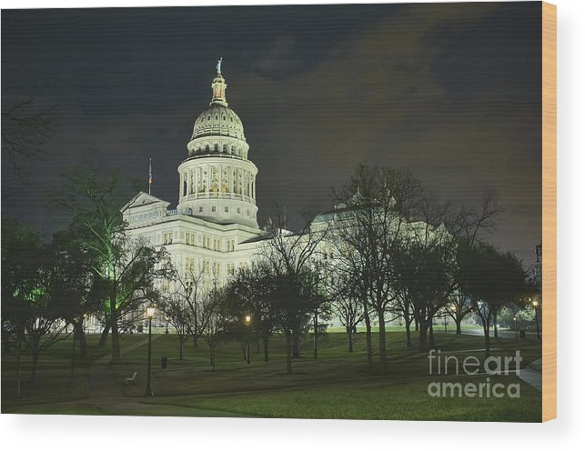 Texas State Capitol Wood Print featuring the photograph Texas State Capitol Building In Austin At Night by Andre Babiak