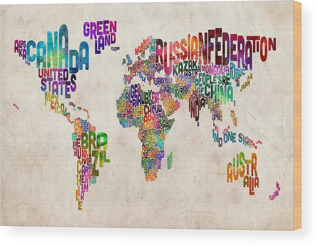 Map Of The World Wood Print featuring the digital art Text Map Of The World by Michael Tompsett