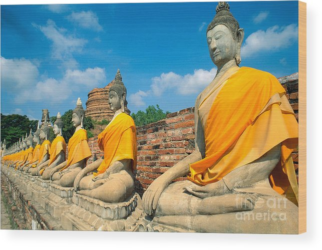 Ayuthaya Wood Print featuring the photograph Thailand, Ayathaya by Rita Ariyoshi - Printscapes