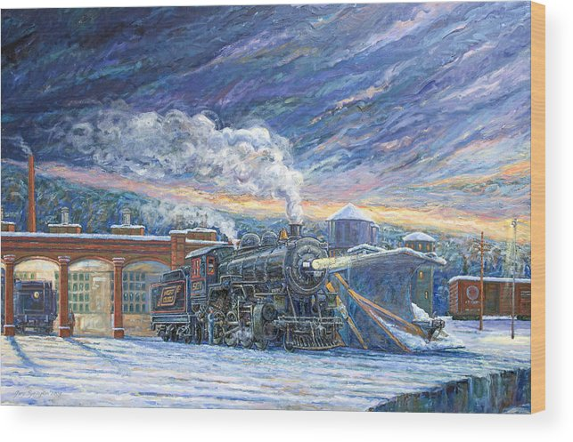 Locomotive Wood Print featuring the painting The 501 In Winter by Gary Symington