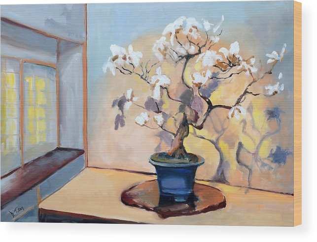Tree Wood Print featuring the painting The Art Of Bonsai - Bonsai Tree by Donna Tuten