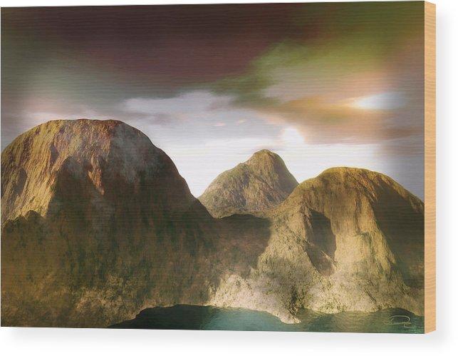 Landscape Wood Print featuring the painting The Awakening by Emma Alvarez