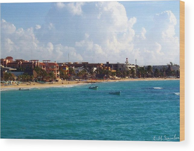 Mexico Wood Print featuring the photograph The Beach At Playa Del Carmen by Elise Samuelson