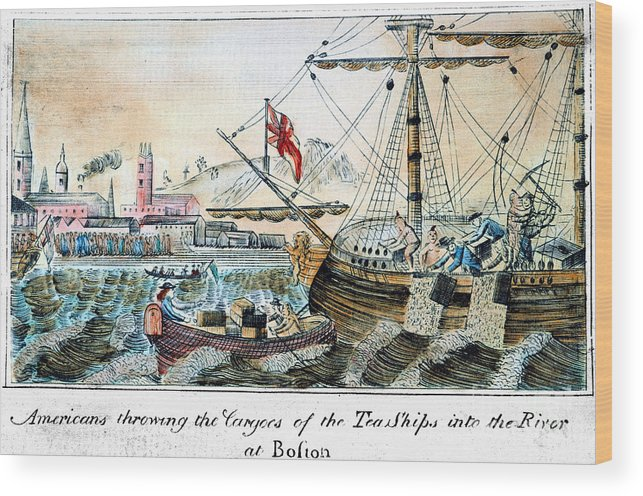 1773 Wood Print featuring the photograph The Boston Tea Party, 1773 by Granger