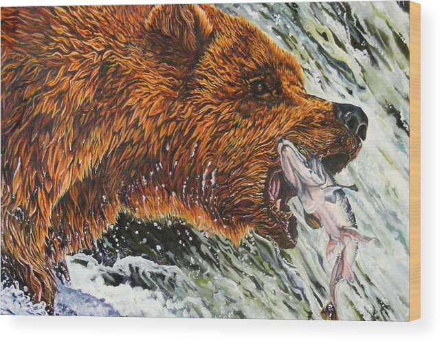 Bear Wood Print featuring the painting The Cycle by Donald Dean