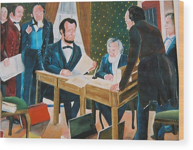 Historical Wood Print featuring the painting The Emancipation by Desenclos Patrick