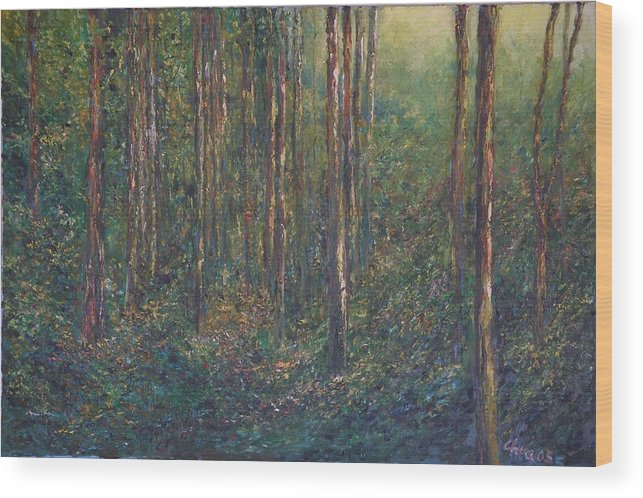Landscape Wood Print featuring the painting The First Light by Wendy Chua