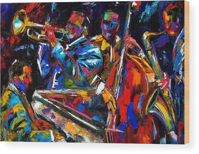 Jazz Wood Print featuring the painting The First Set by Debra Hurd