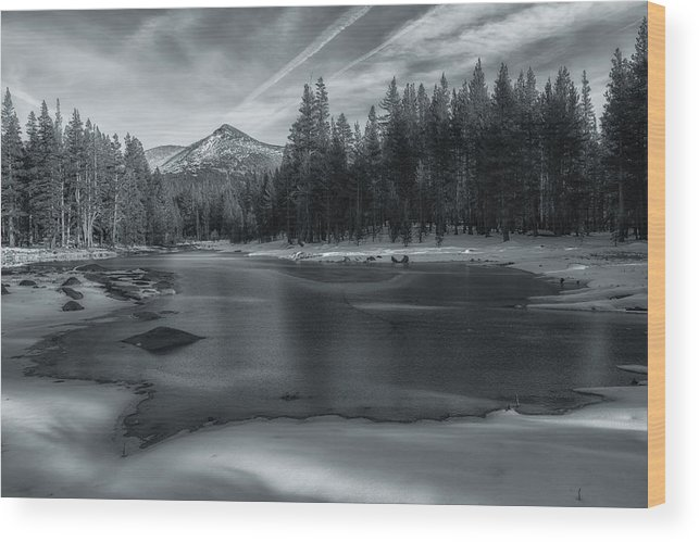 Landscape Wood Print featuring the photograph The Frozen Pond by Jonathan Nguyen