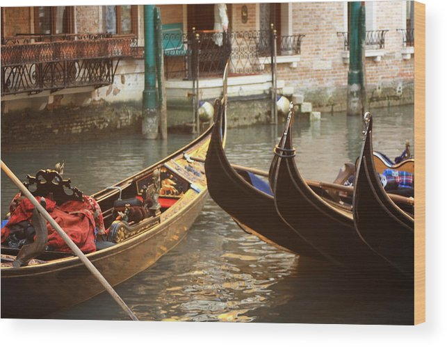 Venice Wood Print featuring the photograph The Golden Gondola by Michael Henderson