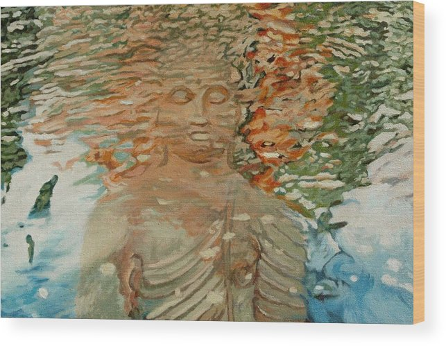 Buddhism Wood Print featuring the painting The Hindrance Of Sensual Desires by Allan OMarra