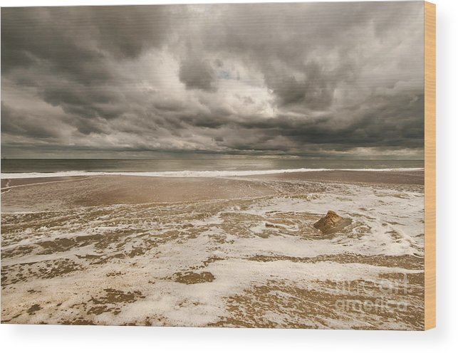Beach Wood Print featuring the photograph The Last Sand Castle Of The Season by Jim Moore