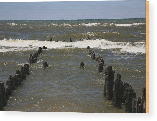 Sand Surf Wood Print featuring the photograph The Last Wooden Pier by Robert Pearson