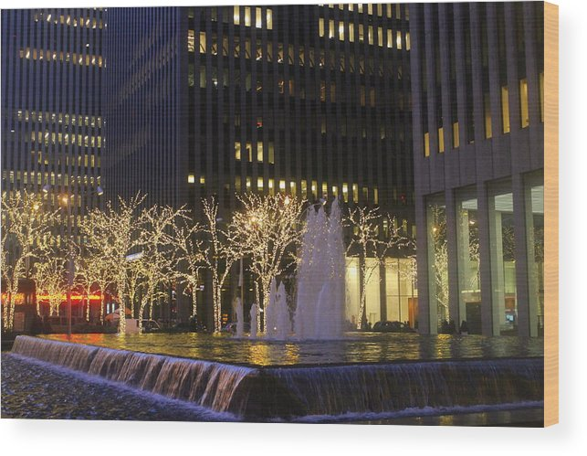 New York Wood Print featuring the photograph New York City Lights by Dora Sofia Caputo Photographic Design and Fine Art