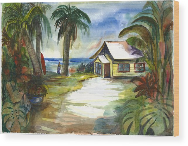 Yellow Beach Cottage Wood Print featuring the painting The Little Yellow Beach House by Ileana Carreno