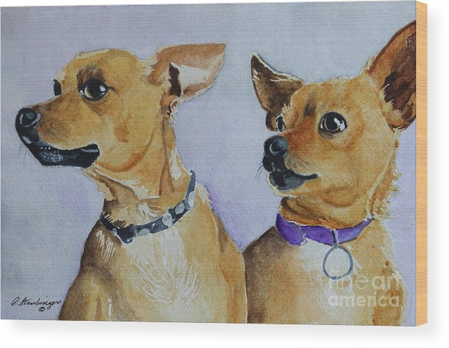 Chihuahua Dogs Wood Print featuring the painting The Mexicans by Patty Strubinger