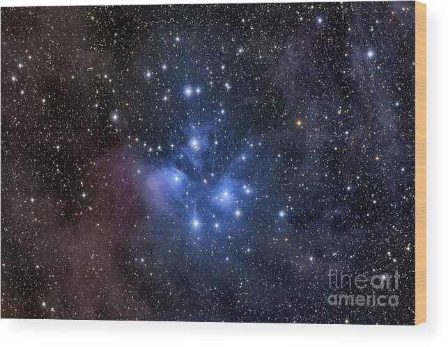 Messier 45 Wood Print featuring the photograph The Pleiades, Also Known As The Seven by Roth Ritter