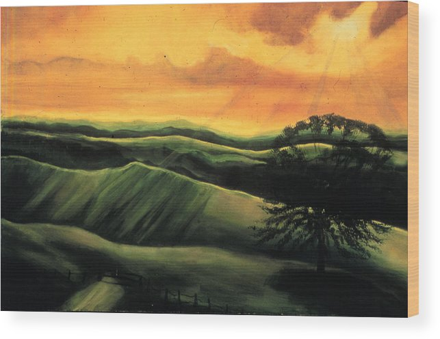 The Ranch  Wood Print featuring the painting The Ranch by Ione Citrin