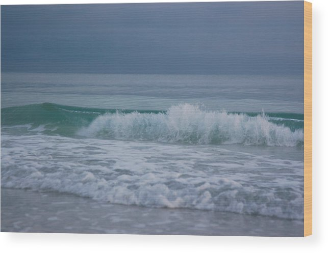 Holmes Beach Wood Print featuring the photograph The Surf Rolls In At Holmes Beach by Stacy Gold