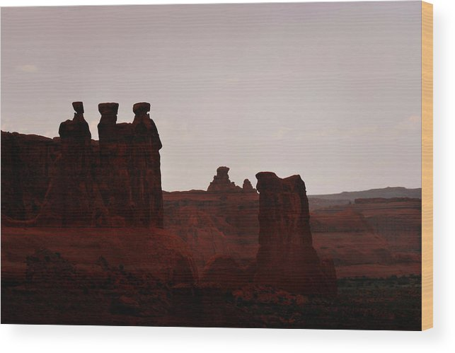 Landscape Wood Print featuring the photograph The Three Gossips Arches National Park Utah by Christine Till
