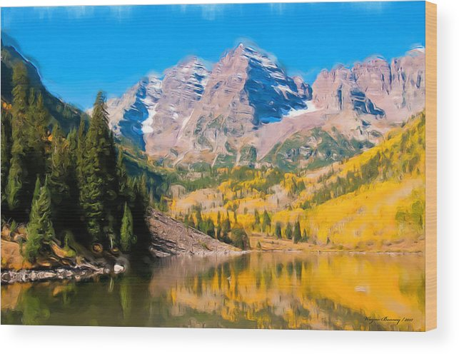Mountains Wood Print featuring the painting The Three Sisters by Wayne Bonney
