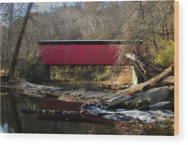 The Wood Print featuring the photograph The Wissahickon Creek In Autumn - Thomas Mill Covered Bridge by Bill Cannon