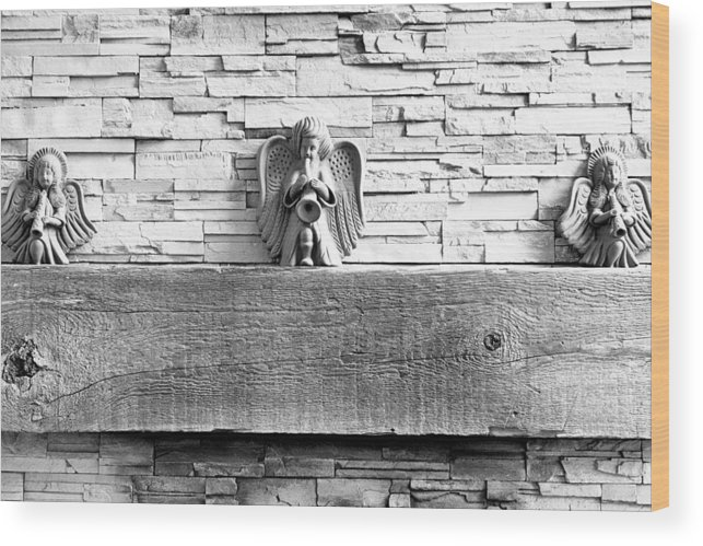 Three Wood Print featuring the photograph Three Angels On A Mantel by Robert Meyers-Lussier