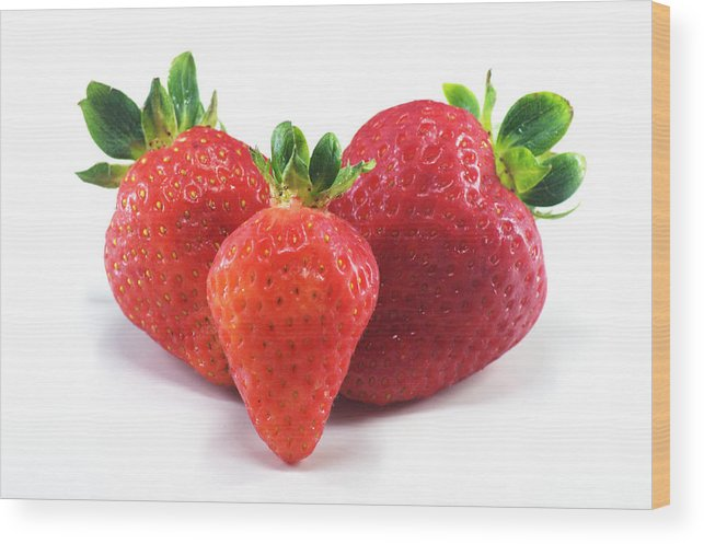 Strawberry Wood Print featuring the photograph Three Strawberries by Chris Day