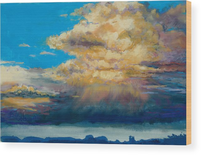 Storm Clouds Wood Print featuring the painting Thundeclouds by Billie Colson