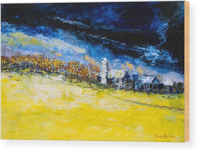 Abstract Wood Print featuring the painting Thunderstorm by Claude Marshall