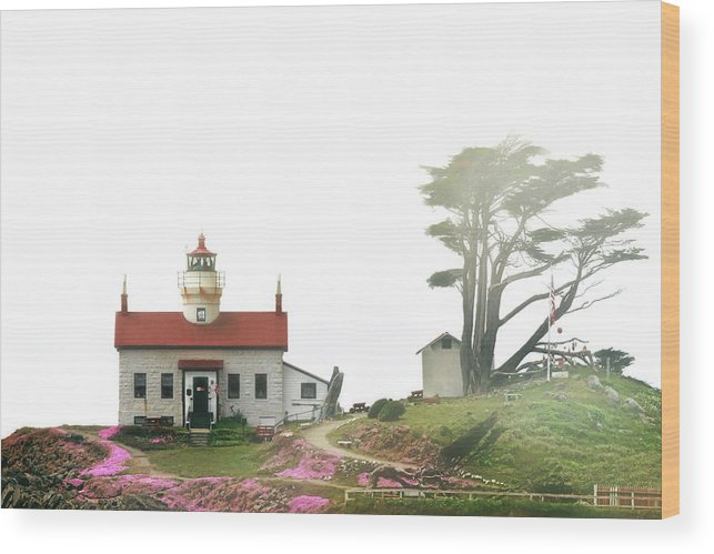 Battery Point Lighthouse Wood Print featuring the photograph Tides Of Battery Point Lighthouse - Northern Ca by Christine Till