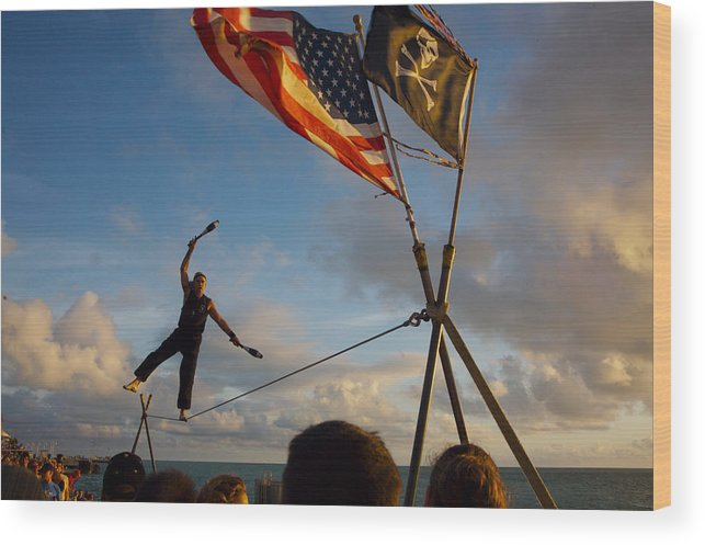 Balance Wood Print featuring the photograph Tight Rope Walker In Key West by Carl Purcell