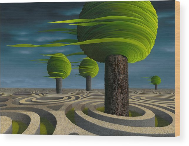 Tree Wood Print featuring the painting Tilia Arbora by Patricia Van Lubeck