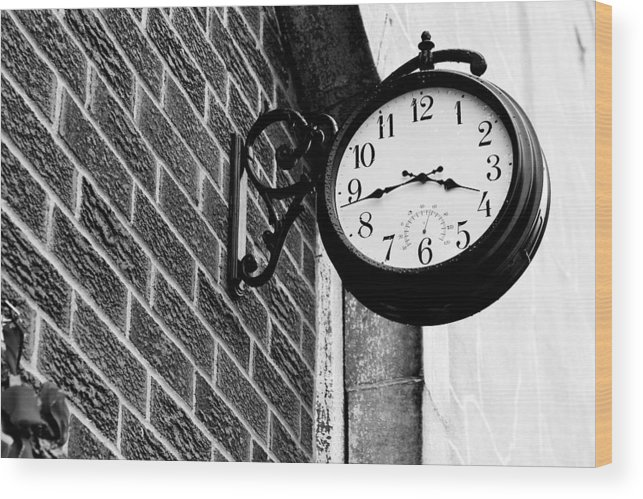 Time Wood Print featuring the photograph Time In Black And White by Michelle Shockley