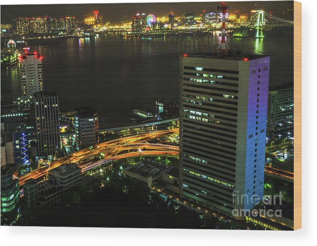 Tokyo Skyline Wood Print featuring the photograph Tokyo Bay Area Skyline by Benny Marty