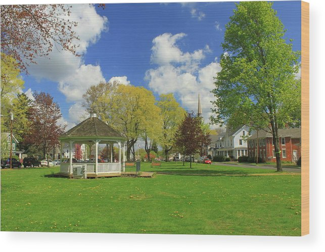 Town Common Wood Print featuring the photograph Town Common In Spring Brookfield Massachusetts by John Burk