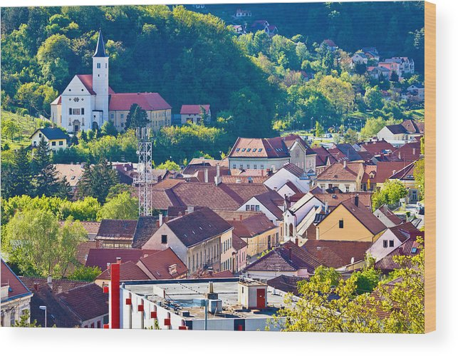 Croatia Wood Print featuring the photograph Town Of Krapina Rooftops View by Brch Photography