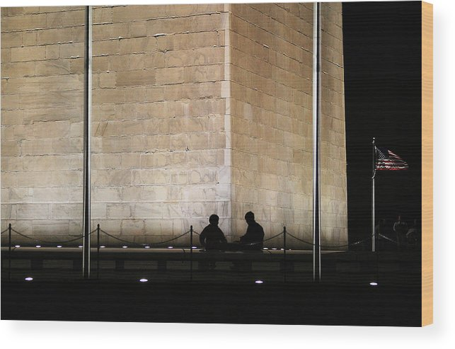 Washington Monument Wood Print featuring the photograph Trading Stories by Brian M Lumley