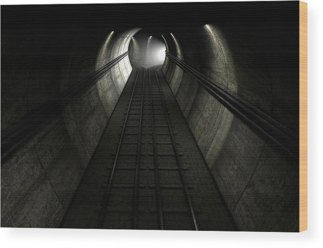 Tunnel Wood Print featuring the digital art Train Tracks And Approaching Train by Allan Swart