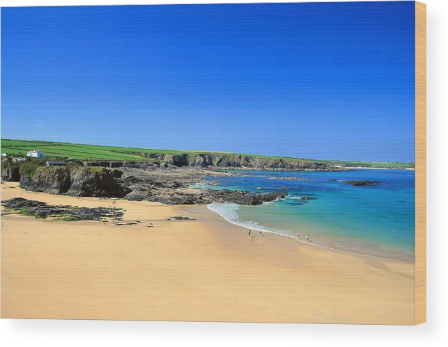 Trevone Wood Print featuring the photograph Trevone Bay by Carl Whitfield