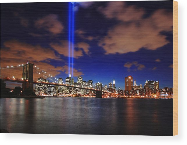 New York City Wood Print featuring the photograph Tribute In Light by Rick Berk