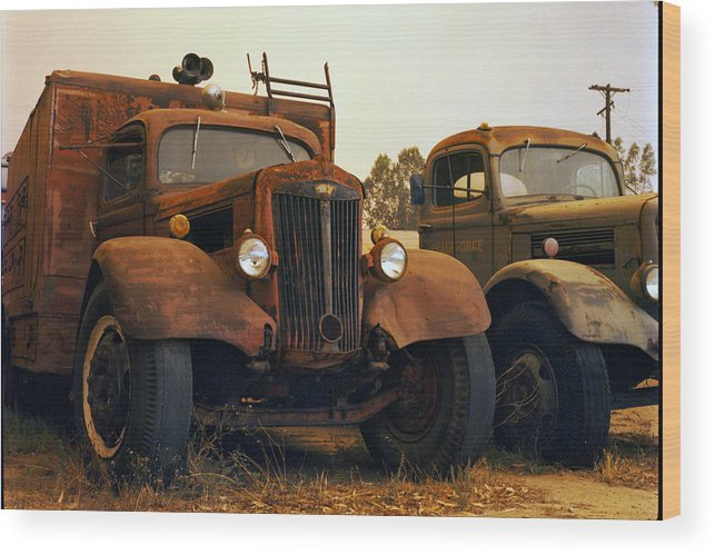 Smoke Trucks Perris Museum Military Old Texture Fire Wood Print featuring the photograph Trucks Under Smoke by Lawrence Costales