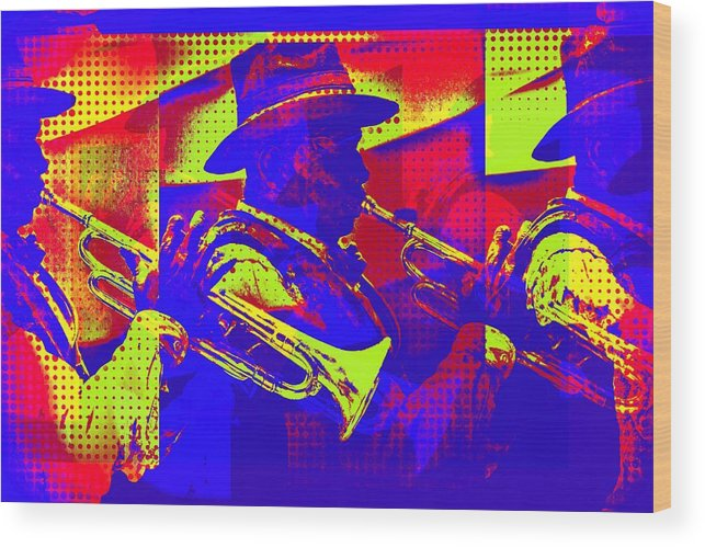 Trumpet Player Wood Print featuring the digital art Trumpet Player Pop-art by Tatiana Travelways