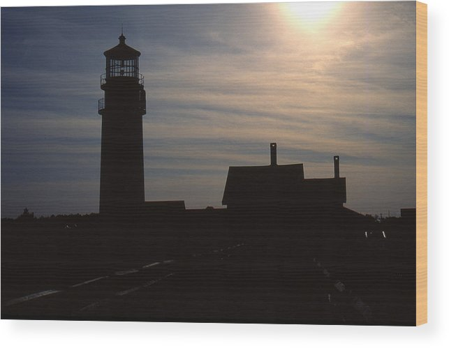 Ocean Wood Print featuring the photograph Truro Lighthouse In Silhouette by Roger Soule
