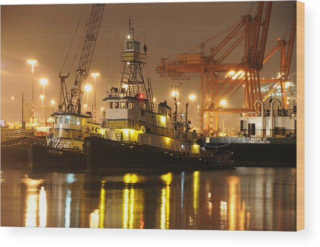 Tugboat Fog Maritime Shipping Boat Ship Marine Night Water Ocean Wood Print featuring the photograph Tugboat In The Fog by Alasdair Turner