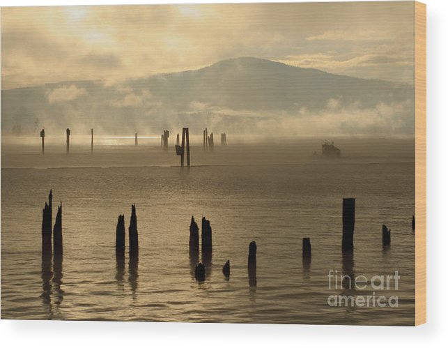 Tugboat Wood Print featuring the photograph Tugboat In The Mist by Idaho Scenic Images Linda Lantzy