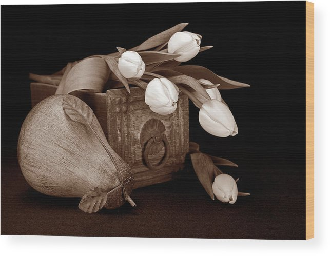 Flower Wood Print featuring the photograph Tulips With Pear II by Tom Mc Nemar