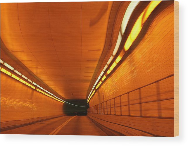 Tunnel Wood Print featuring the photograph Tunnel by Linda Sannuti