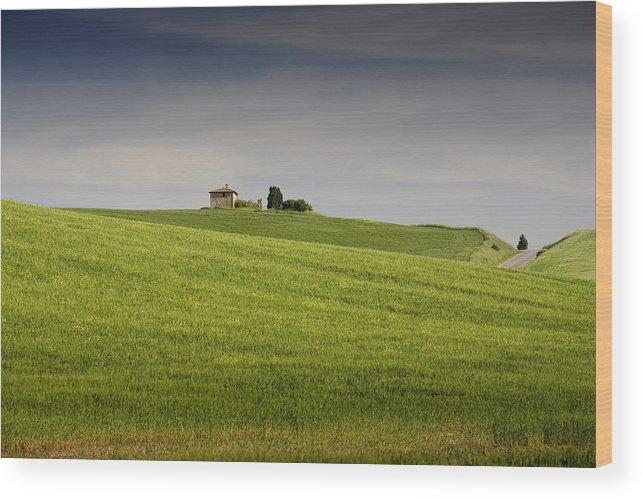 Farmhouse Wood Print featuring the photograph Tuscan Farmhouse by Al Hurley